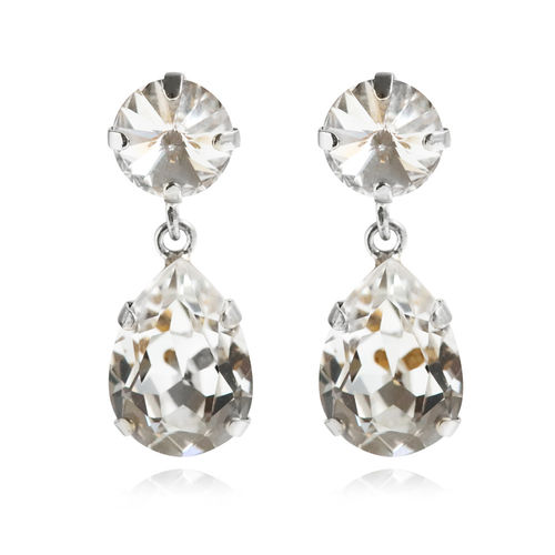 Classic Drop Earrings Crystal Rhodium