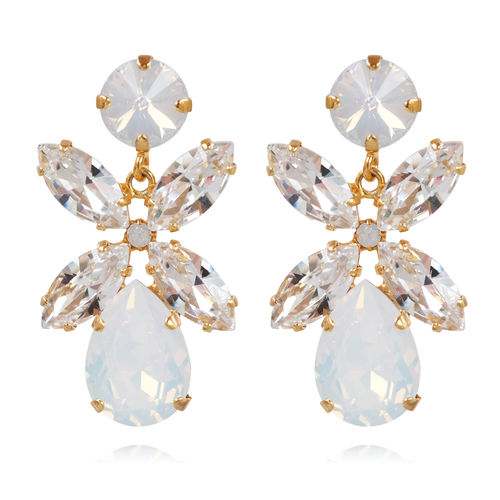Dione Earrings White Opal/Crystal