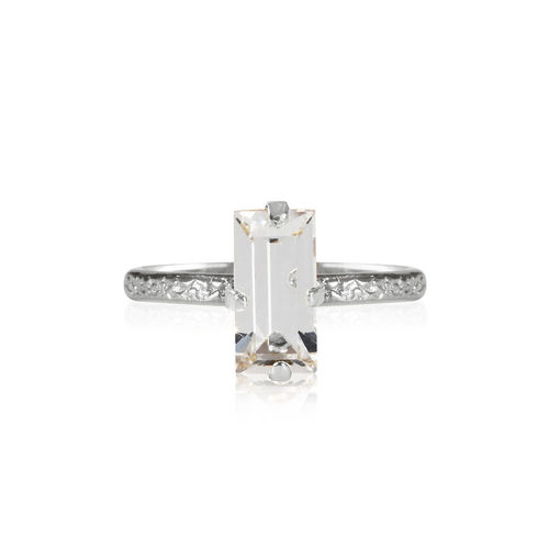 Baguette Ring Crystal Rhodium